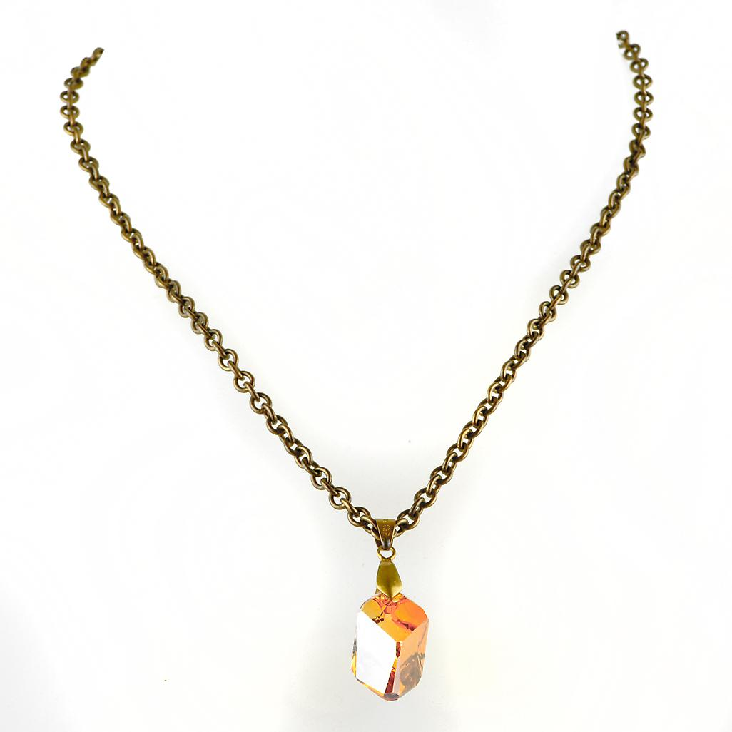 Waooh - Jewellery - WJ0314 - Stone Necklace with Swarovski Yellow - alpha Metal Color Copper