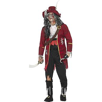 Deluxe Zombie Pirate Captain Costume, Red, with Jacket, Attached Latex Ribs, Trousers, Bootcovers, Mock Shirt, Hat, Hook & Belt