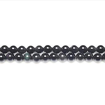 Strand 62+ Black/Dark Green Rainbow Obsidian 6mm Plain Round Beads GS11056-1