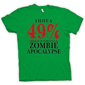 Heren T-shirt-Zombie Apocalypse 49% - Horror grappig