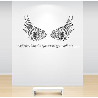 Angel Wings Wall Sticker Where Thought Goes Energy Follows