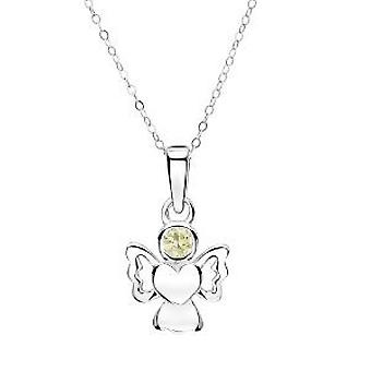 Jo For Girls Sterling Silver August Simulated Birthstone Angel Pendant Necklace