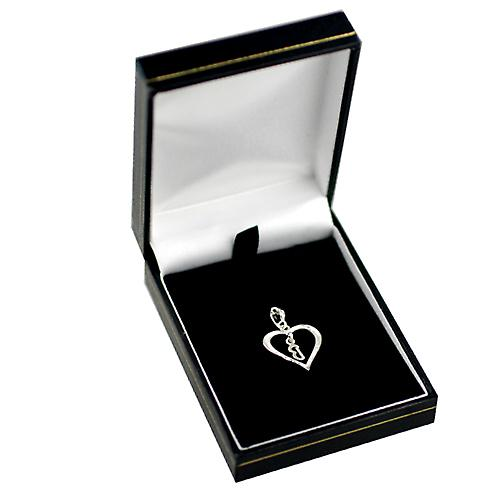 sterling Silver heart with a hanging Initial B