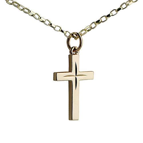 9ct Gold 20x13mm Star cut block Cross with Belcher chain
