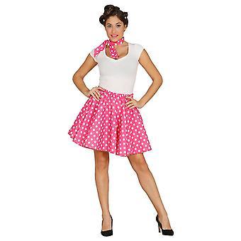 Womens 1950's Yellow Polka Dot Fancy Dress Costume
