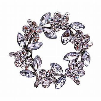 Simulierten Diamant-Blumen-Brosche mit Emaille-Weiß-Blätter