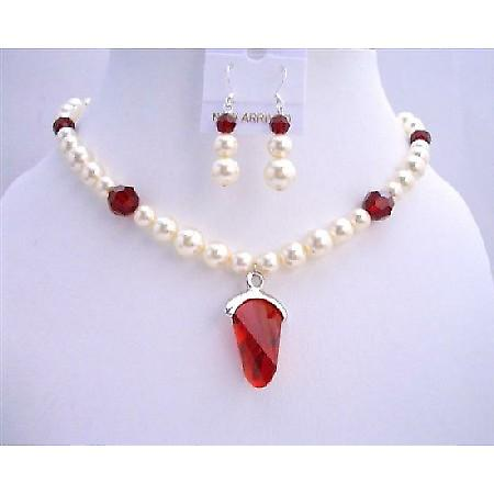 Cream Pearls w/ Siam Red Crystals Pendant Wedding Bridal Jewelry Set