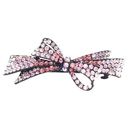 Quinceanera Hair Pieces Gorgeous Pink Crystals Bow Barrette
