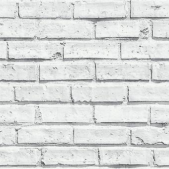 Arthouse hvide mursten væg fotografiske sten effekt naturlige funktion tapet