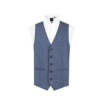 Dobell Mens Mississippi Blue Waistcoat Regular Fit 5 Button