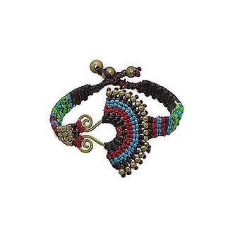 Ethnic bracelet Brown beads and Metal Gold
