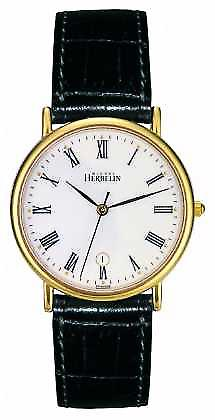 Michel Herbelin Mens Sonates, Gold Plate, Black Leather 12443/P01 Watch