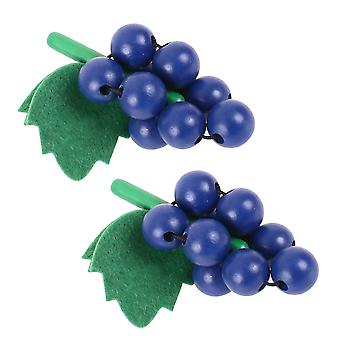 Bigjigs Toys Wooden Play Food Bunch of Grapes (Pack of 2) Pretend Role Play