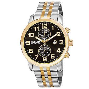 August Steiner Men's Swiss Quartz Multifunction Dual-Time Stainless Steel Two-Tone Bracelet Watch AS8175TTGB