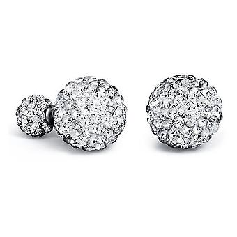Double-sided Crystal Stud Earrings-Silver