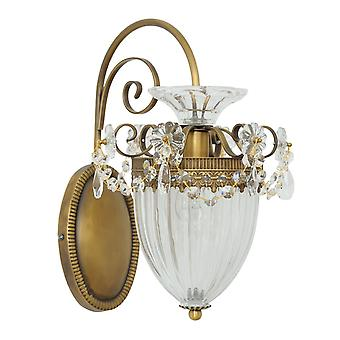 Glasberg - mässing enda Vägglampa med räfflade glas skugga 482010101