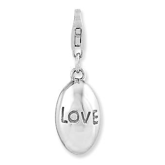 925 Sterling Silver Fancy Lobster Closure Rhodium-plaqué 3-d Love With Lobster Clasp Charm