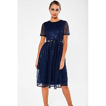 iClothing Halia Crochet Dress With Sequin Detail In Navy-16