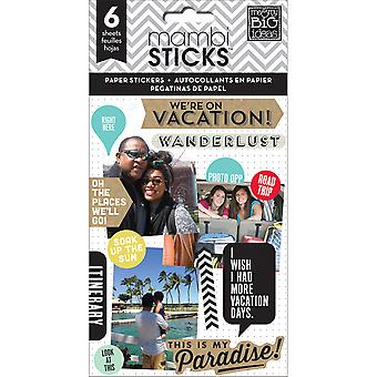Me & My Big Ideas Pocket Pages Paper Stickers 6 Sheets/Pkg-We Are On Vacation PPS-31