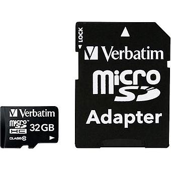 microSDHC card 32 GB Verbatim MICRO SDHC 32GB CL 10 ADAP Class 10 incl. SD adapter