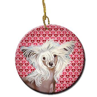Chinese Crested Valentine's Love and Hearts Ceramic Ornament