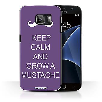 STUFF4 Case/Cover for Samsung Galaxy S7/G930/Grow a Mustache/Purple/Keep Calm