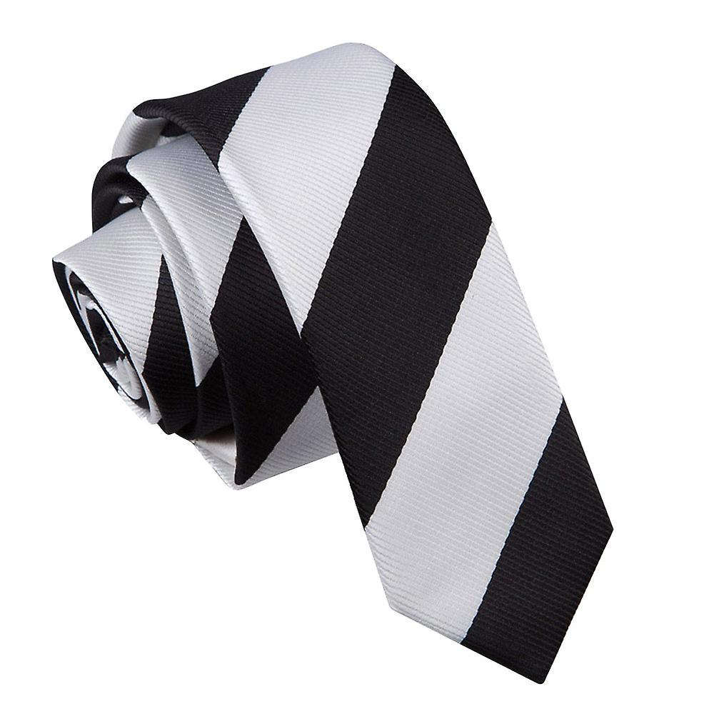 Striped Black & White Skinny Tie
