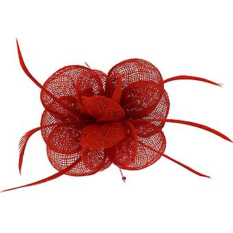 Red Beads Feather and Mesh Corsage Hair Fascinator Brooch Accessory