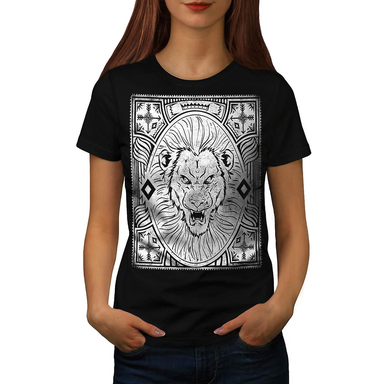 King Jungle Lion  Wildlife Women Black T-shirt | Wellcoda