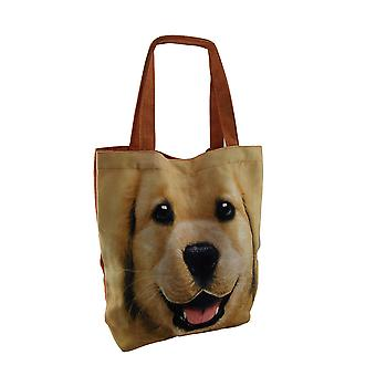Happy Dog stor gul Lab ansikt lerret Tote Bag