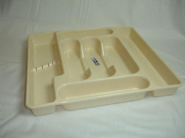 7 Section Plastic Drawer Organiser Tray Oatmeal Home Kitchen Cutlery Storage