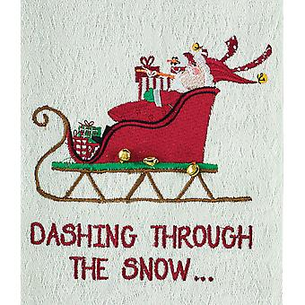 Dashing Through The Snow Santas Sleigh Embroidered Kitchen Dish Towel