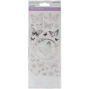 MultiCraft Clear Foil Stickers-Butterfly Silver SS148-A
