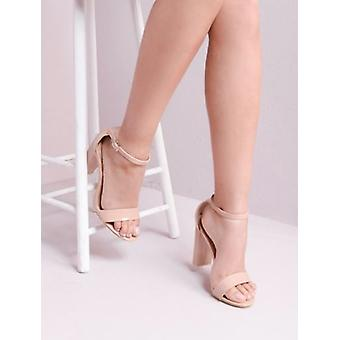 Pointed Strappy Chunky Heeled Sandals Nude