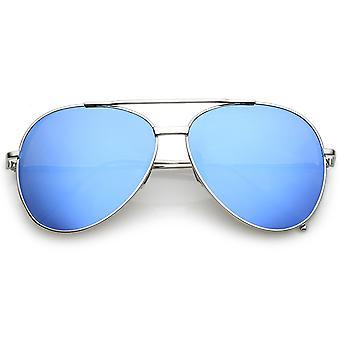 Classic Crossbar Metal Aviator Sunglasses Slim Arms Color Mirrored Teardrop Flat Lens 56mm