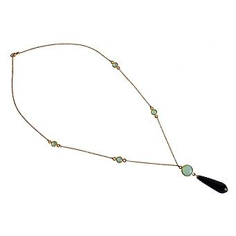 Gemstone necklace gemstones gold plated necklace Black Onyx and chalcedony