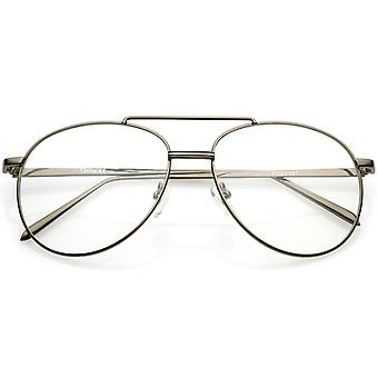 Classic Metal Aviator Eye Glasses Double Nose Bridge Clear Lens 55mm