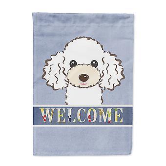 Carolines Treasures  BB1443GF White Poodle Welcome Flag Garden Size