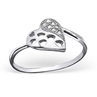 Hart - 925 Sterling Zilver Jewelled ringen - W23444X