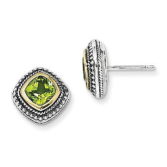 Natural Green Peridot Earrings in Sterling Silver with 14K Gold Accents