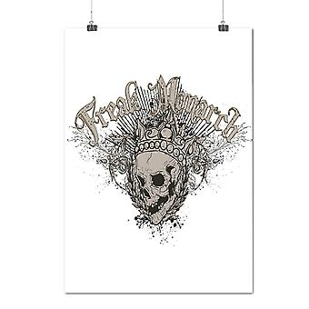 Matte or Glossy Poster with Freak Monarch King Skull | Wellcoda | *d201