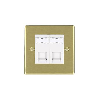 Hamilton Litestat Hartland Satin Brass 2g RJ45 CAT5E Unshielded WH