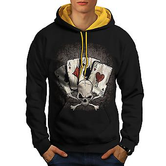 Poker Card Gamble Skull Men Black (Gold Hood)Contrast Hoodie | Wellcoda