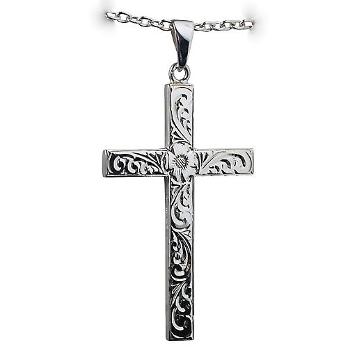 Silver 55x33mm victorian hand engraved solid block Cross with bail on a cable Chain 18 inches