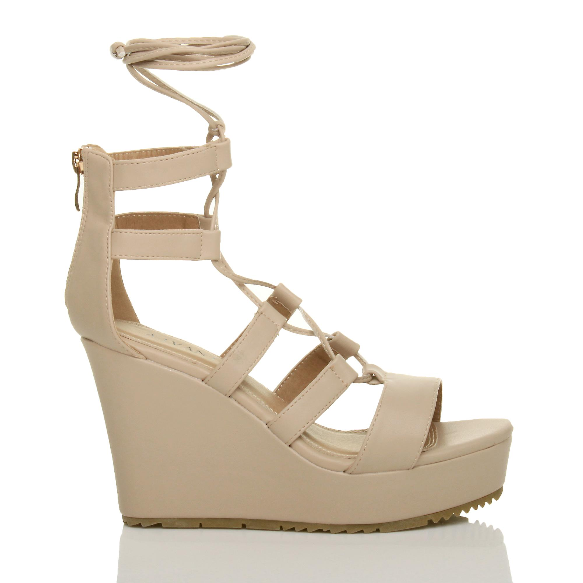 lace ghillie sandals caged shoes high zip Ajvani tie up wedge platform womens gladiator wgA1qX