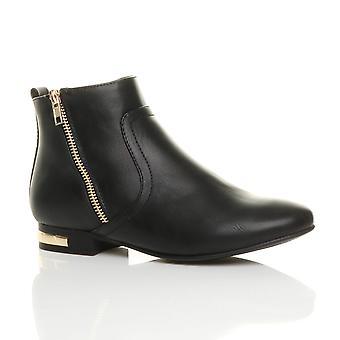 Ajvani womens low heel gold zip contrast riding pixie ankle boots booties