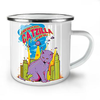 Cat Godzilla Parody NEW WhiteTea Coffee Enamel Mug10 oz | Wellcoda