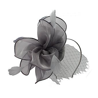 Grey Fascinator on Headband/ Clip-in for Weddings, Races and Occasions-7119