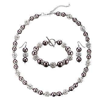 Parure necklace, Bracelet and earrings pearls Bronze, Crystal, and Rhodium plate