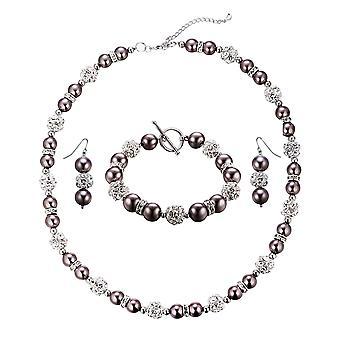 Parure ожерелье, браслет и серьги жемчуг бронзы, хрусталя и родием пластина